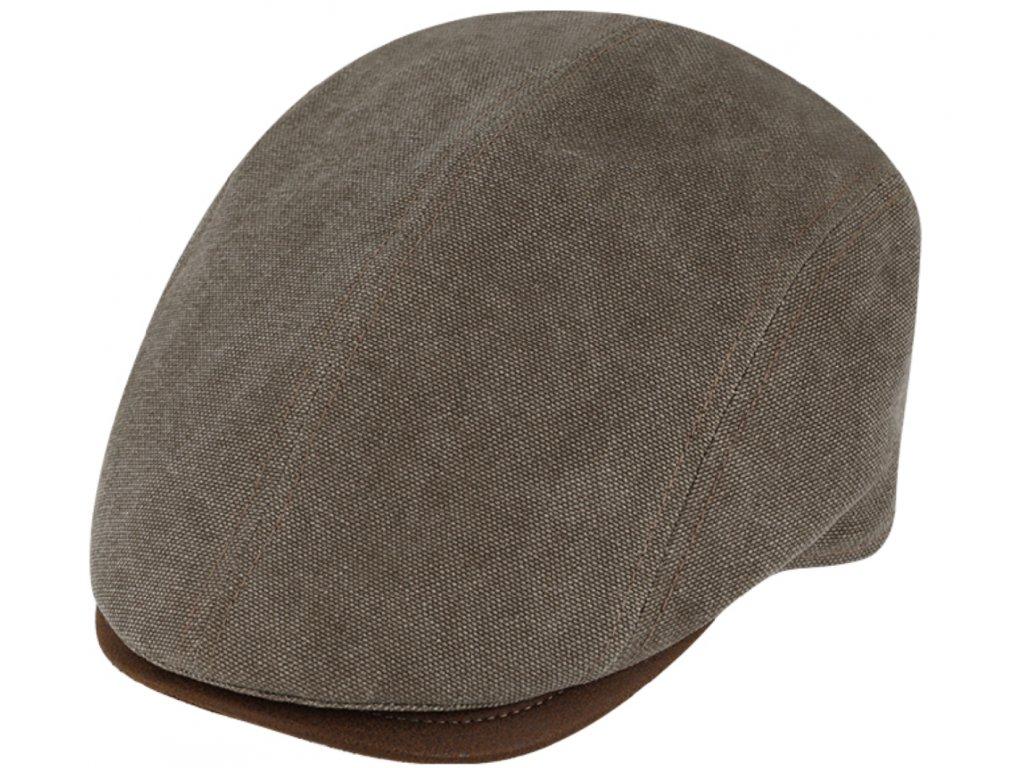 Letní retro bekovka driver cap od Fiebig Len hnědý kanvas a kůže