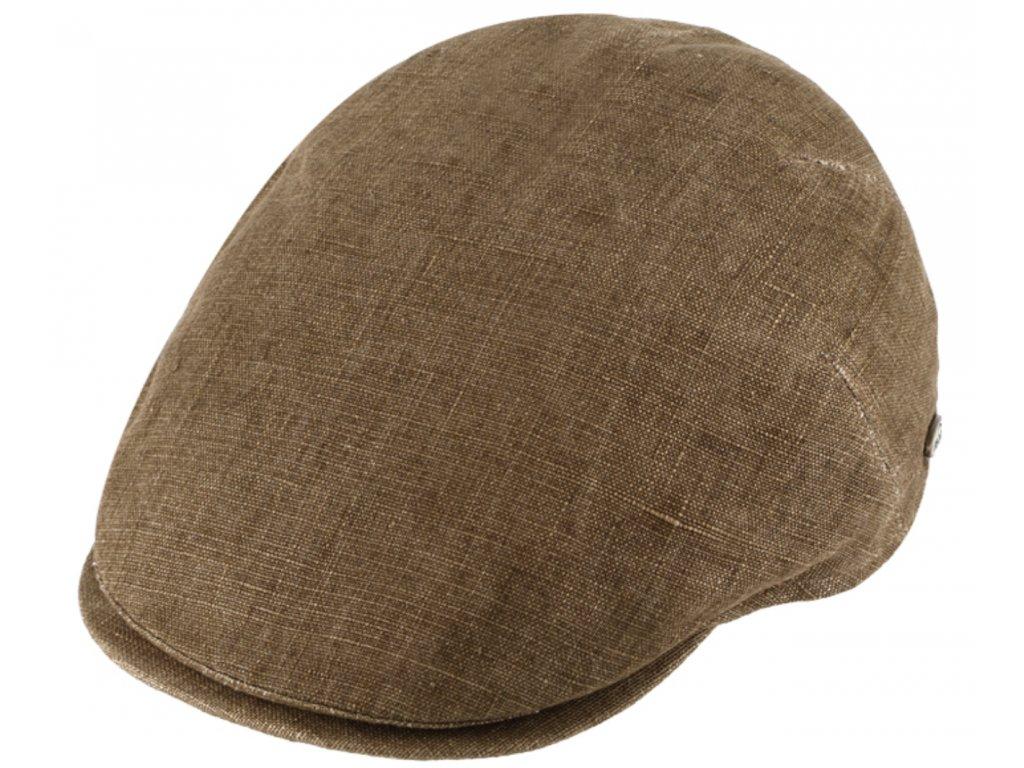 Pánská lněná letní bekovka Fiebig since 1903 hnědá (UV filtr 50, ochranný faktor)
