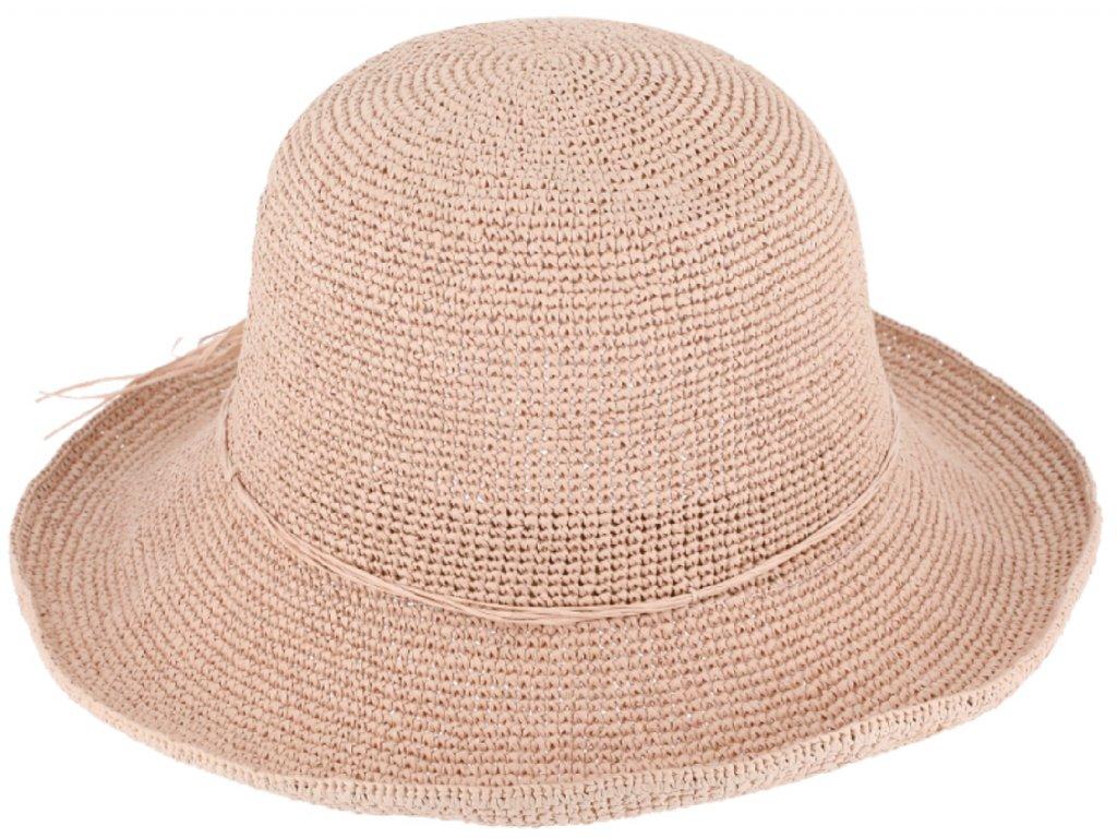 Dámský pudrový letní slaměný klobouk Cloche
