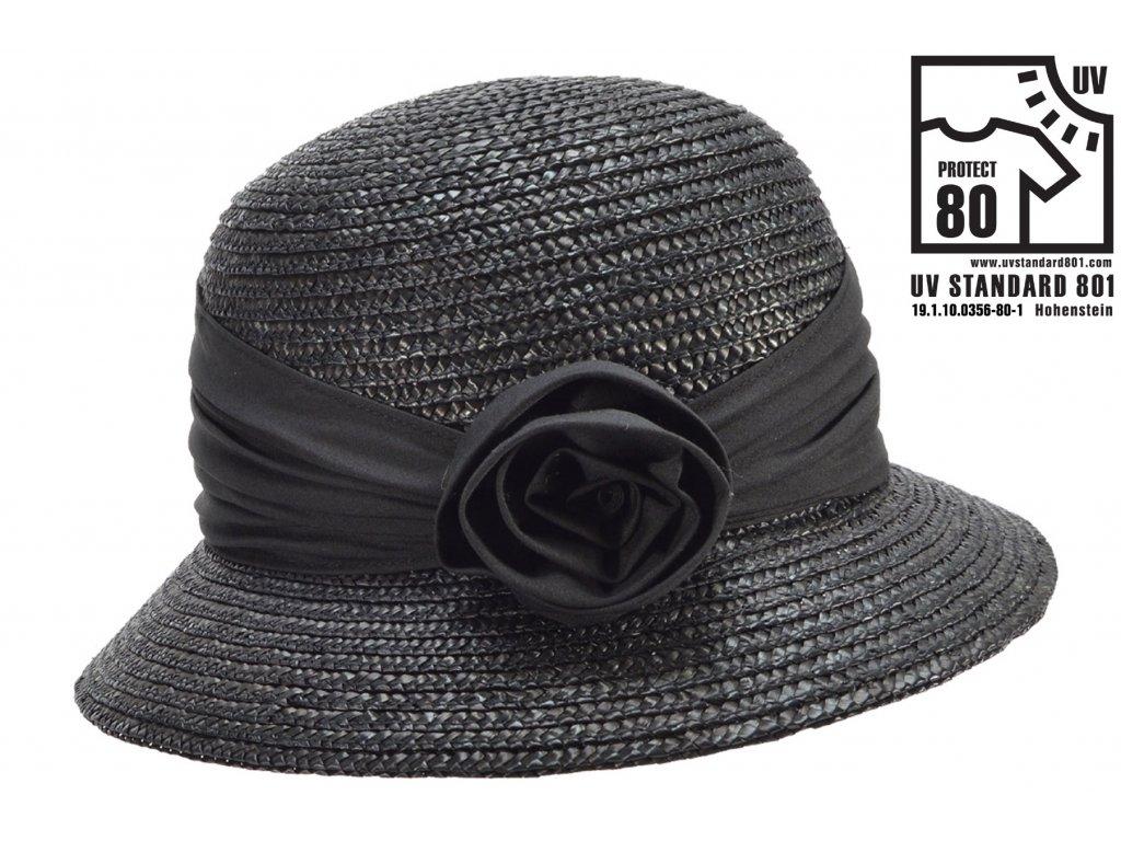 Dámský letní černý klobouček Cloche s malou krempou, ochrana UV faktor 80