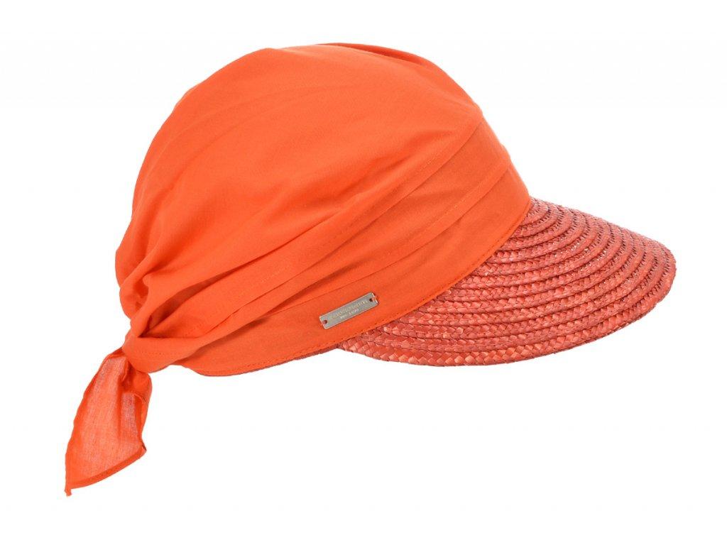 Slaměný oranžový kšilt proti slunci - Seeberger