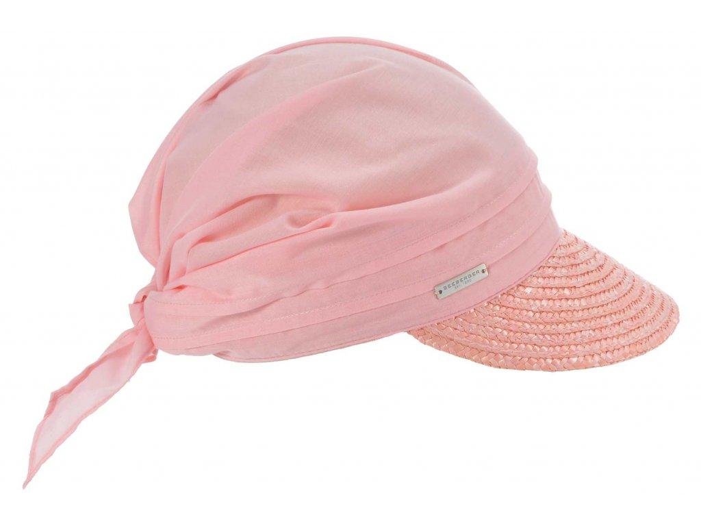 Růžový slaměný kšilt proti slunci - Seeberger