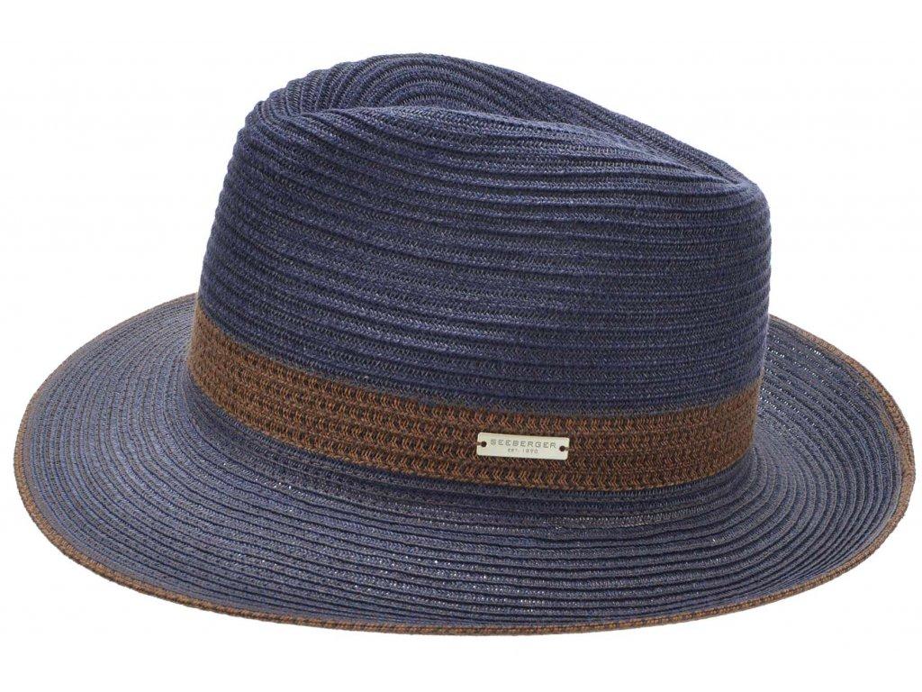 Fedora BOGART - slaměný modrý klobouk - Seeberger