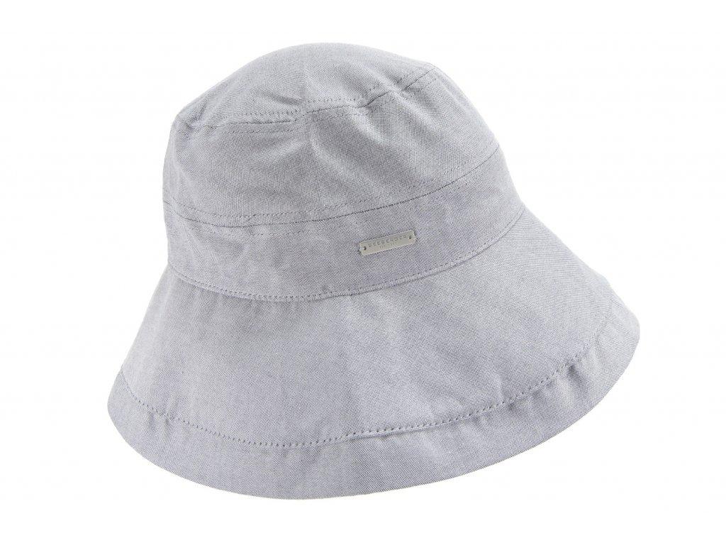 Luxusní letní bucket hat s velkou krempou - chambray bavlna - Seeberger