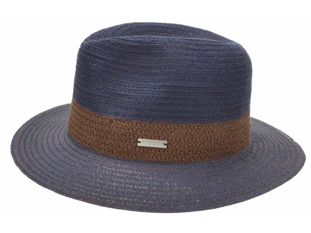 Klasický fedora klobouk - slaměný modrý klobouk - Seeberger