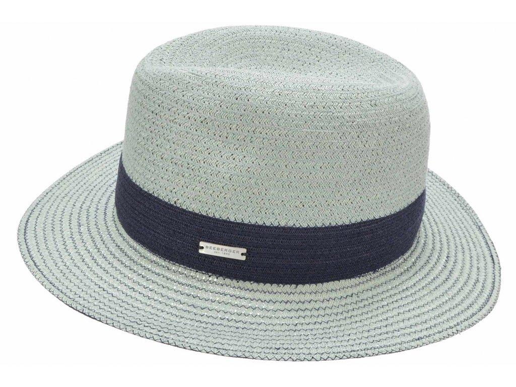 Klasický fedora klobouk - slaměný klobouk - Seeberger - akvamarínová barva