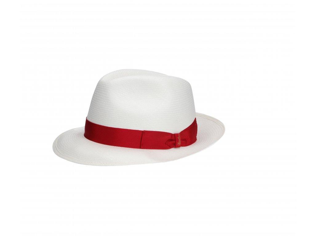 Panamský klobouk s červenou stuhou - střední krempa od Borsalino - Medium-brimmed Fine Panama