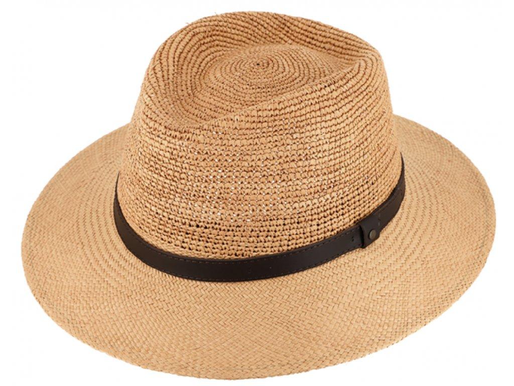 """Letní slaměný klobouk Fedora - ručně pletený -  Ekvádorská panama - Traveller """"Crochet"""""""