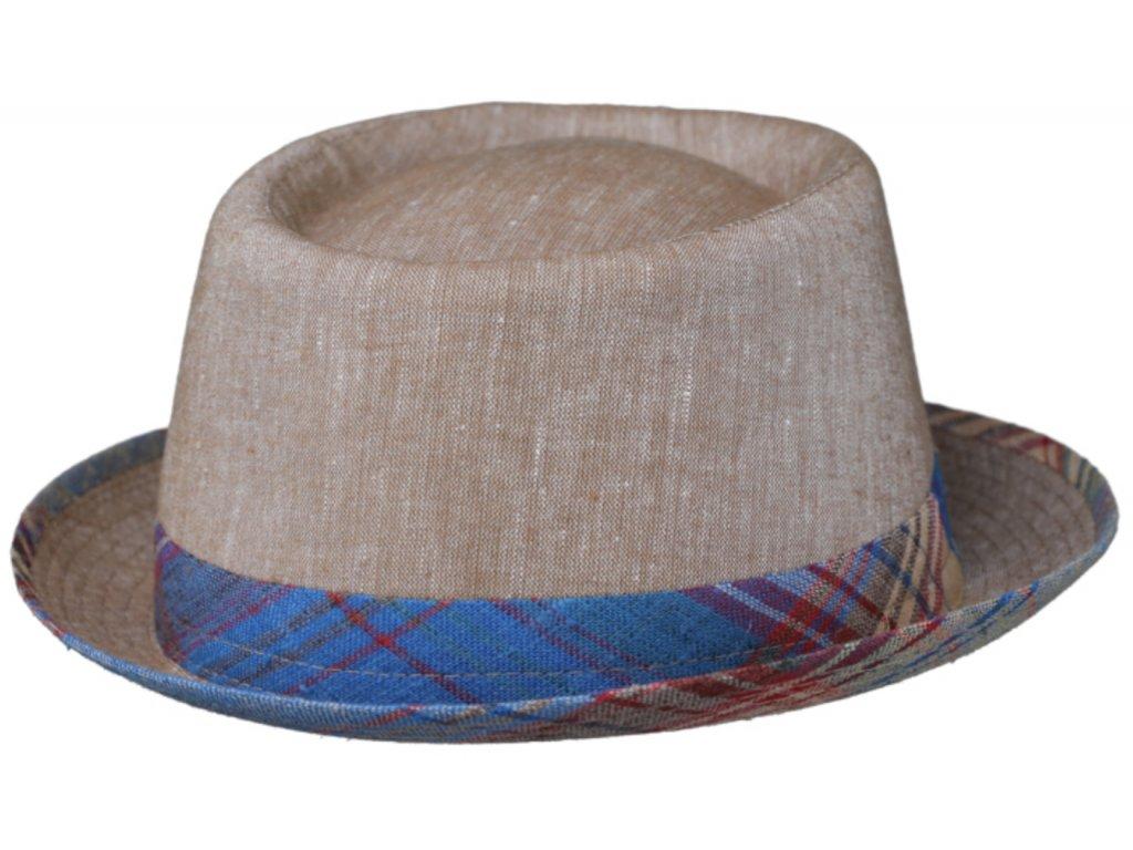 Béžový porkpie klobouk od Fiebig - látkový lněný klobouk