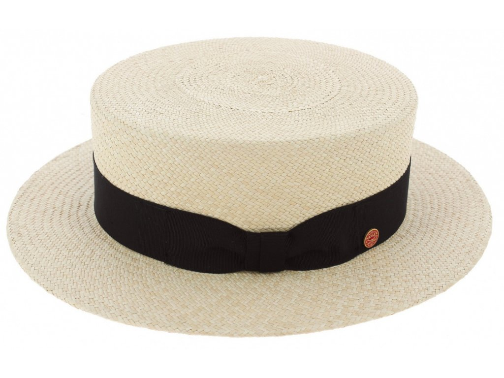 Letní slaměný boater klobouk - panamský klobouk - Gondolo Panama Mayser