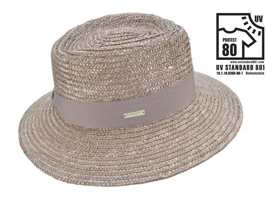 Letní slaměný dámský klobouk Seeberger  - Fedora - UV faktor 80