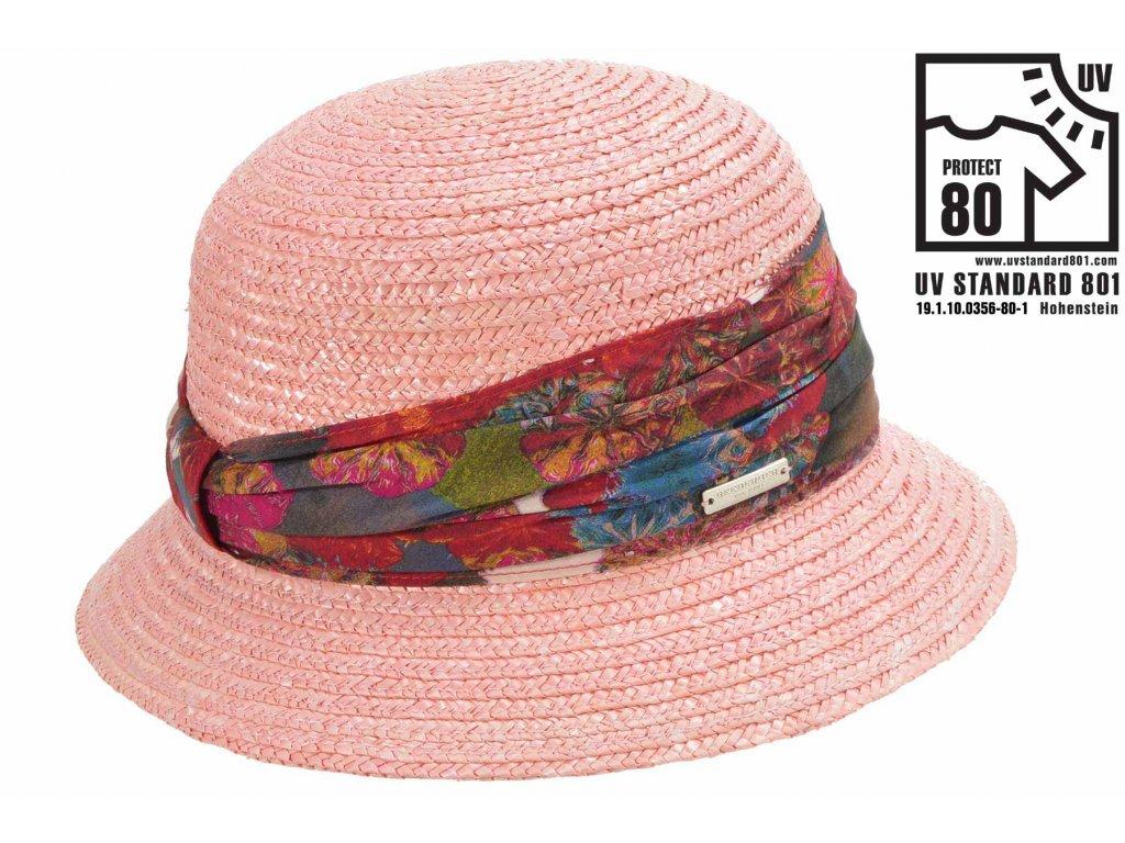 Dámský letní růžový klobouček Cloche s malou krempou a vícebarevnou stuhou, ochrana UV faktor 80