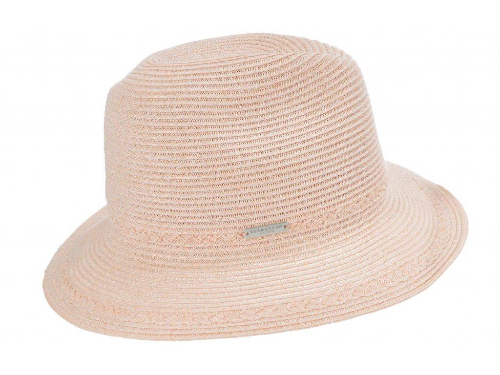 Extra lehký klobouk Fedora - růžový