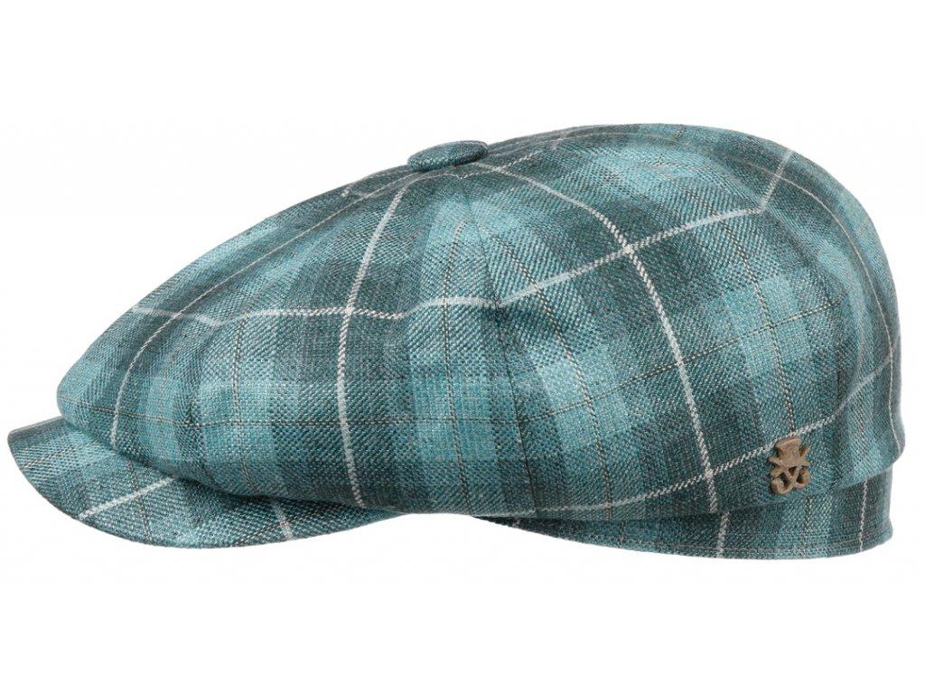 Luxusní bekovka Hatteras od Mayser - vlna, len a hedvábí - zelená kostka