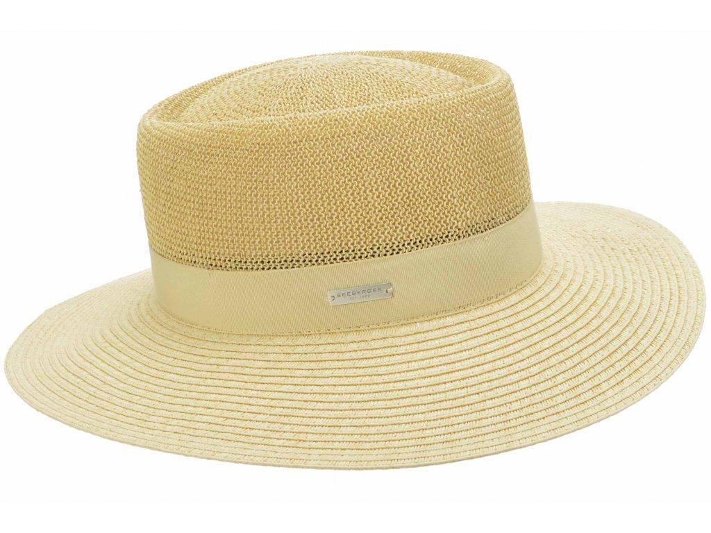 Letní slaměný klobouk s širší krempou - béžový