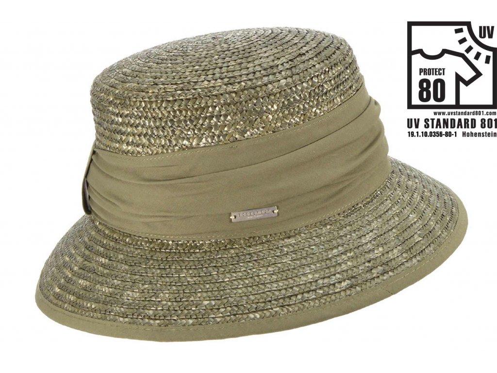 Dámský olivový slaměný klobouk Bucket Hat - Seeberger bestseller