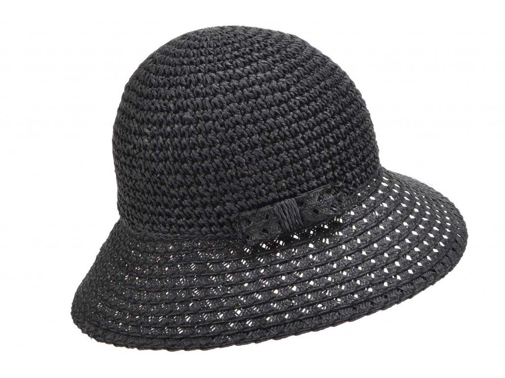 Dámský černý nemačkavý letní slaměný klobouk Cloche - Seeberger