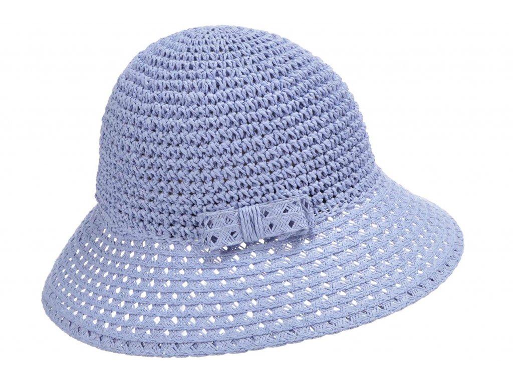 Dámský modrý nemačkavý letní slaměný klobouk Cloche - Seeberger