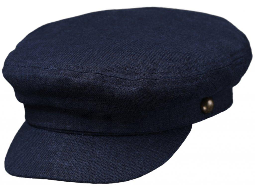 Námořnickálněná kapitánka - Riders Cap Linen - modrá