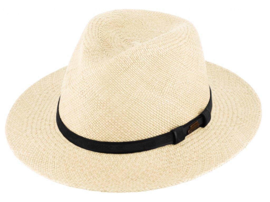 Letní slaměný klobouk Fedora - ručně pletený -  Ekvádorská panama