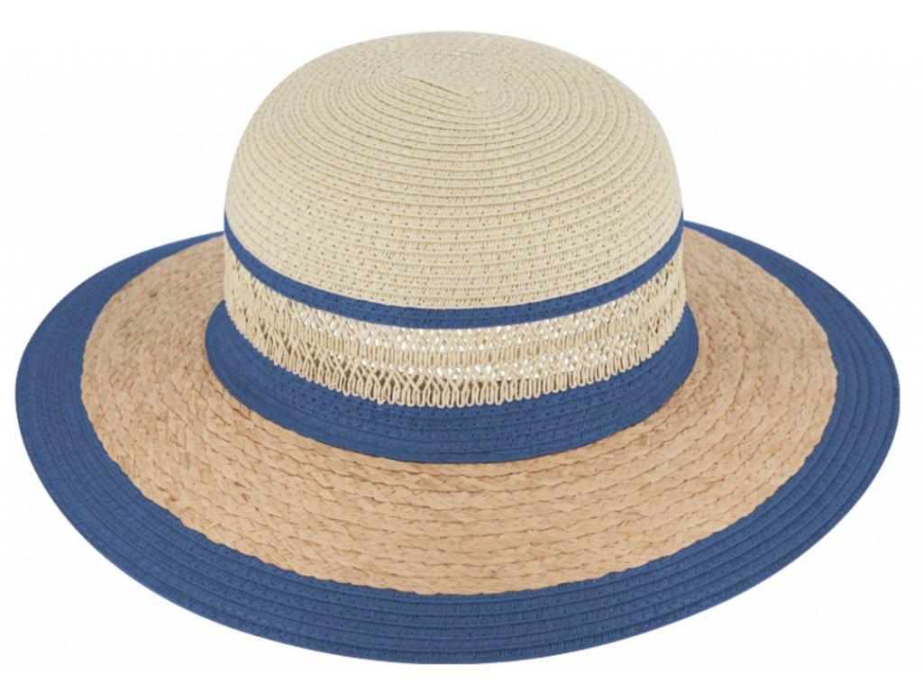 Letní modrý dámský slaměný klobouk Fiebig - Brim Hat Base Point