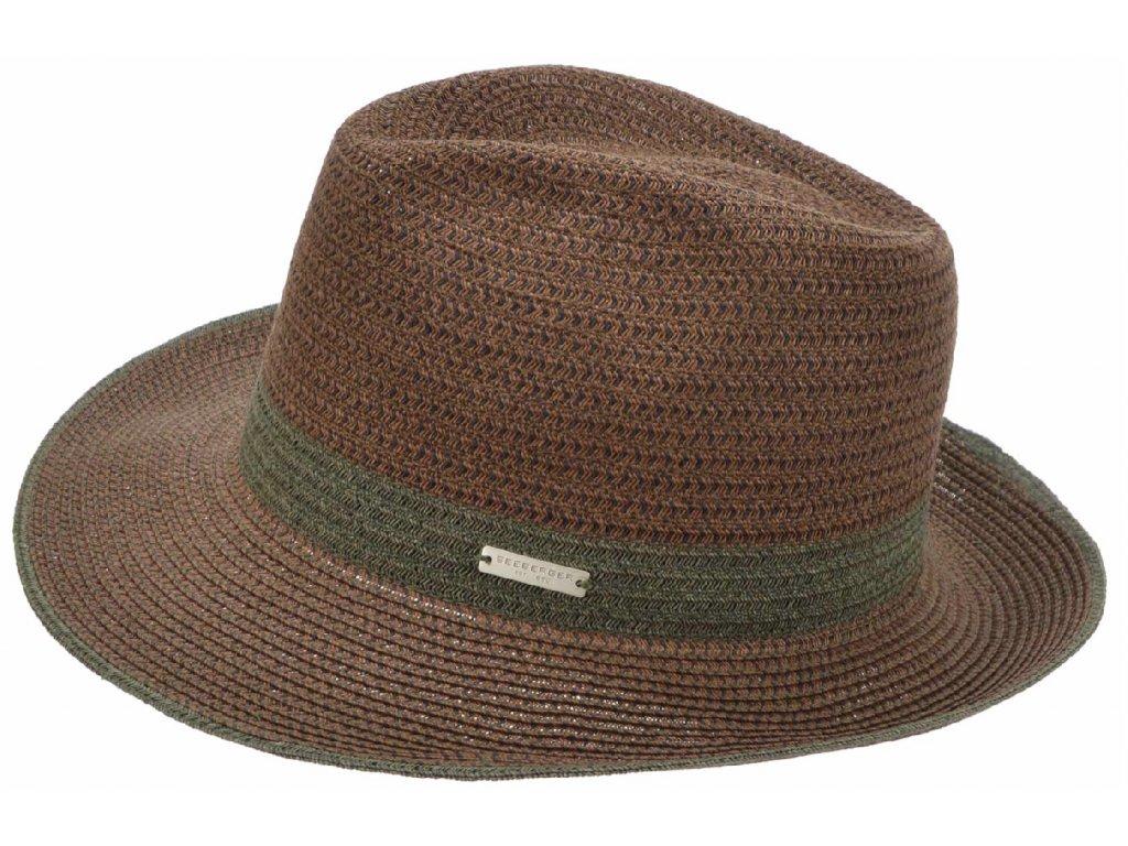 Fedora BOGART - slaměný hnědý klobouk - Seeberger
