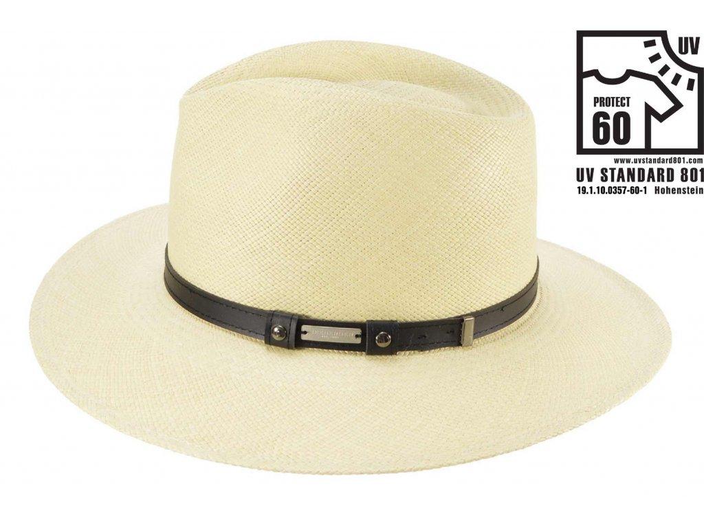 Nebarvený panamský klobouk Bogart - ručně pletený  s koženou stuhou - Ekvádorská panama Seeberger