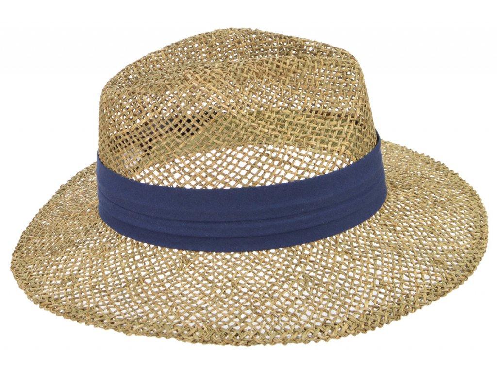Slaměný klobouk z mořské trávy s modrou stuhou - Fedora