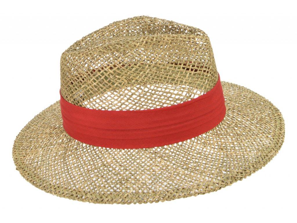 Slaměný klobouk z mořské trávy s červenou stuhou - Fedora