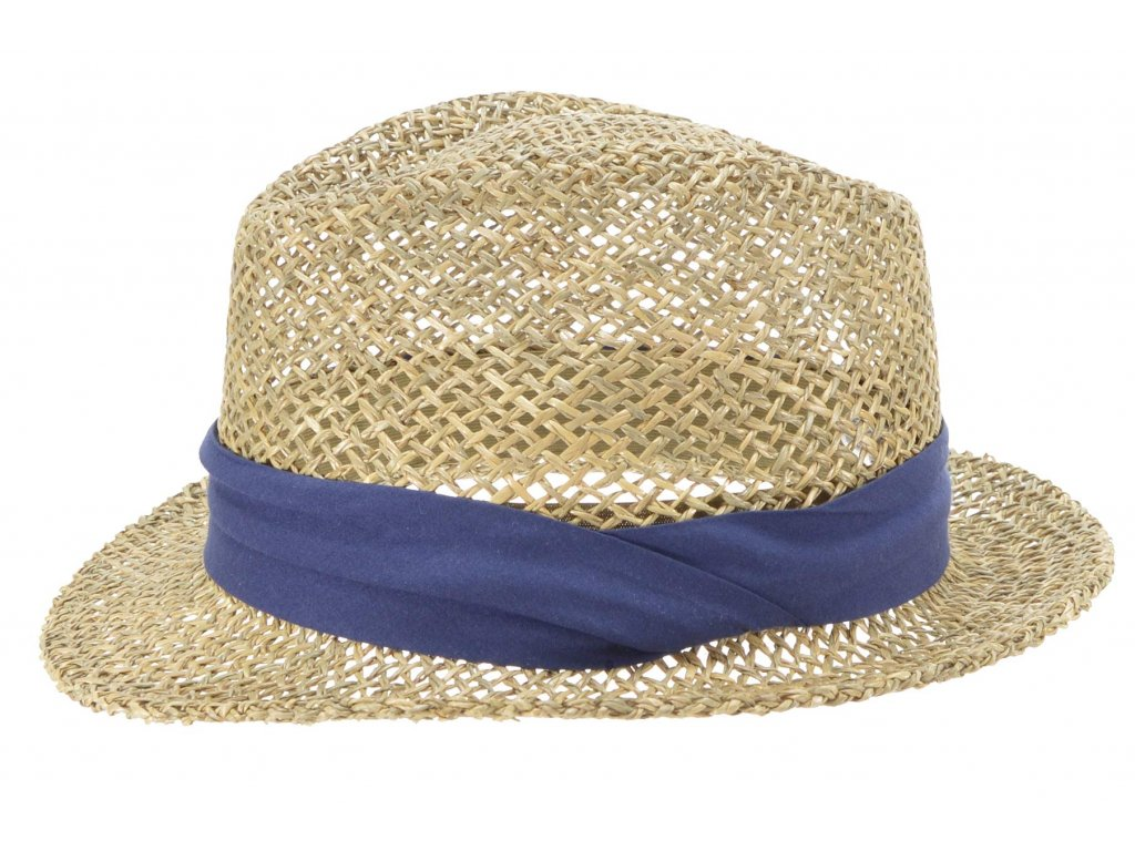 Slaměný klobouk z mořské trávy s modrou stuhou - Trilby