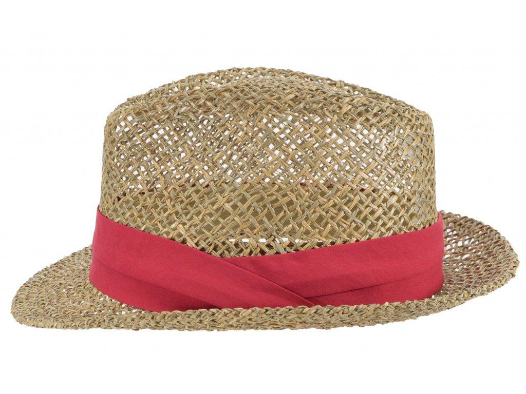 Slaměný klobouk z mořské trávy s červenou stuhou - Trilby