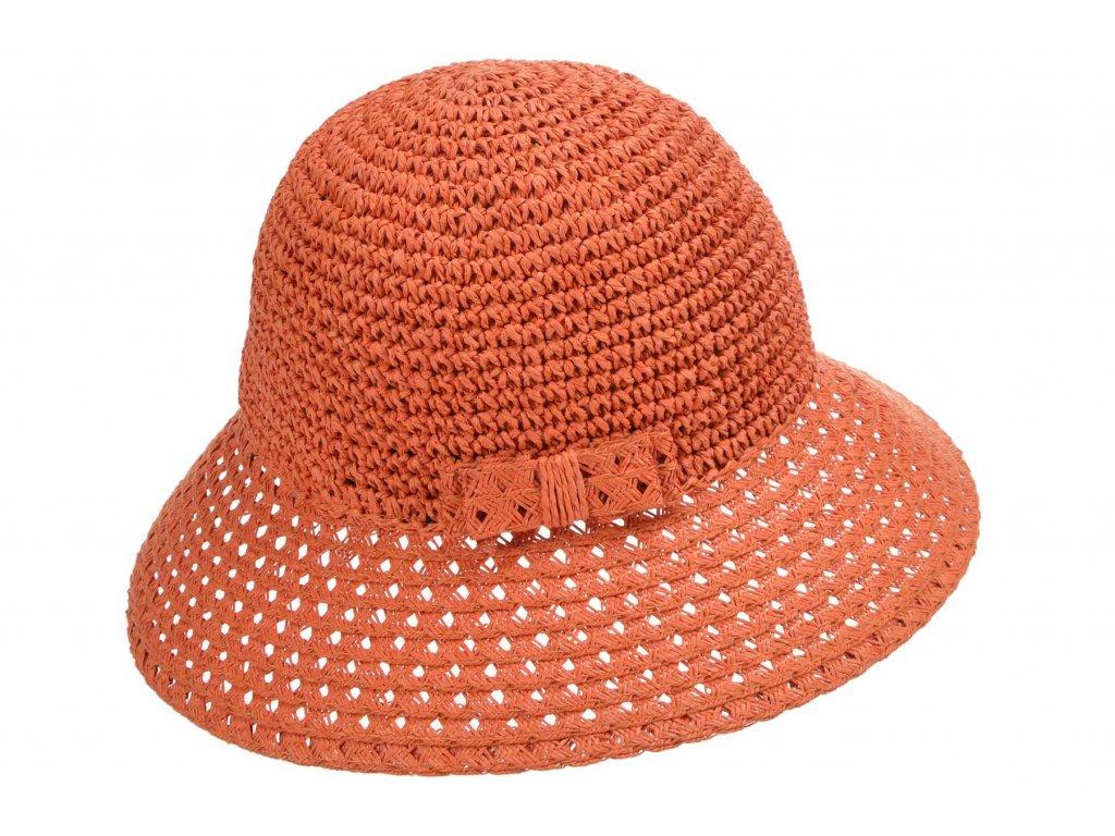 Dámský terakotový nemačkavý letní slaměný klobouk Cloche - Seeberger