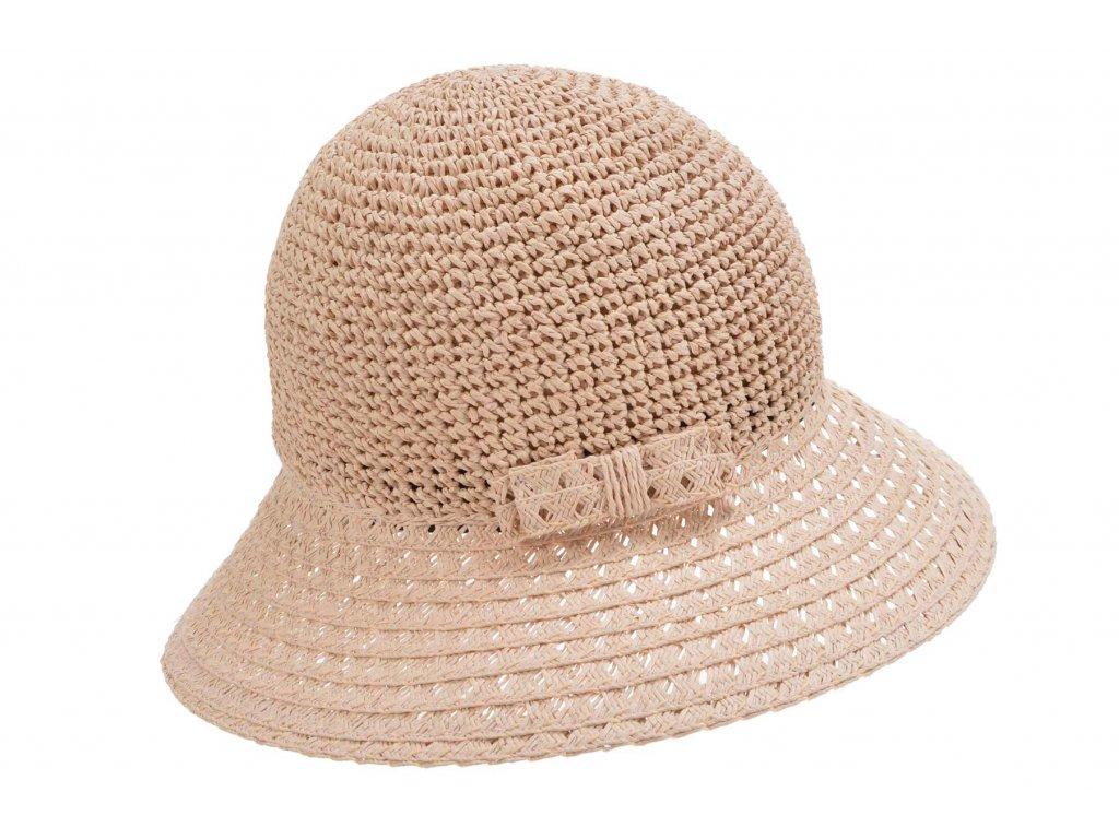 Dámský pudrový letní slaměný klobouk Cloche - Seeberger