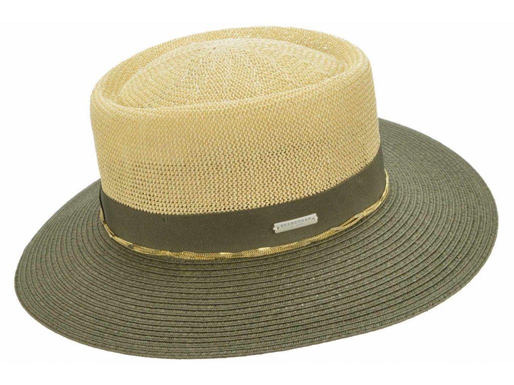 Letní slaměný klobouk s širší krempou - béžový-khaki