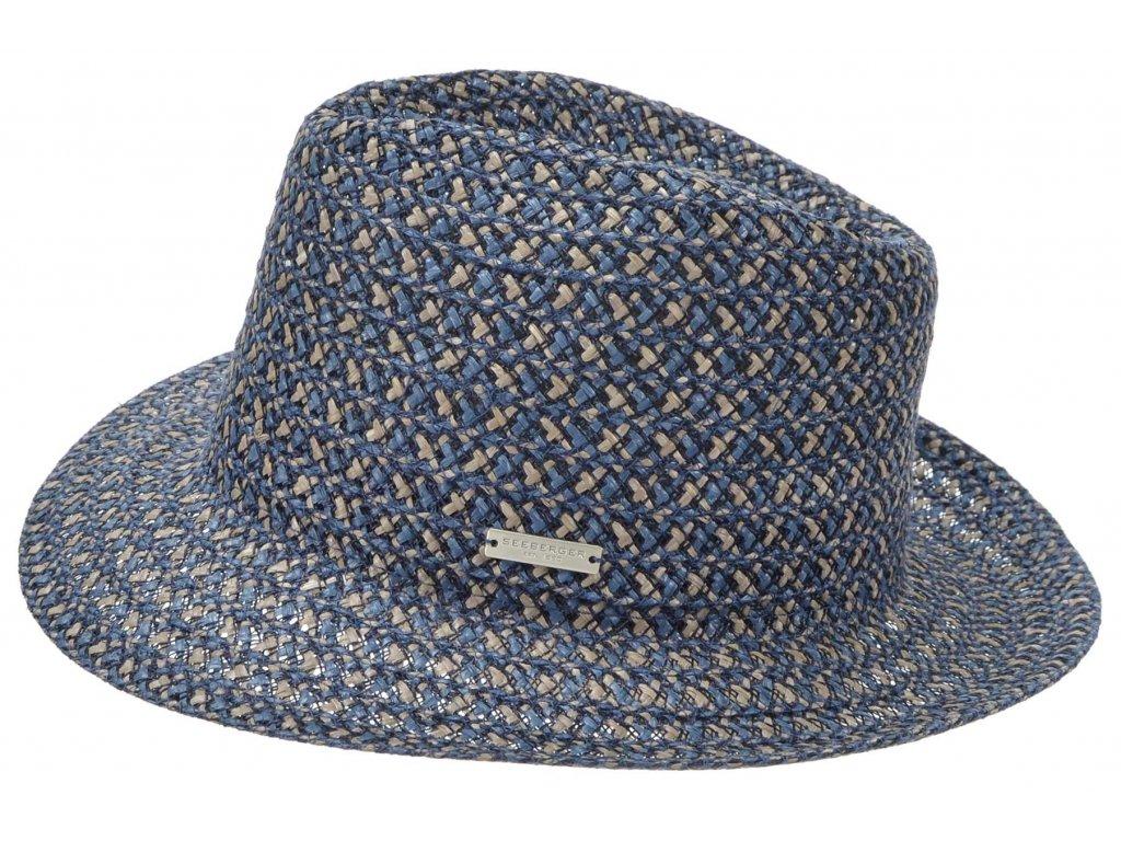 Modrý letní klobouk Fedora Bogart - viskóza a konopí - hemp and viscose
