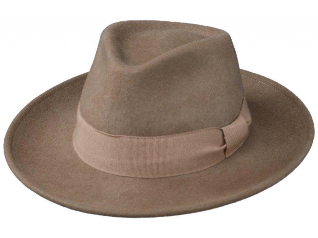 Cestovní klobouk vlněný od Fiebig s širší krempou - béžový s béžovou stuhou