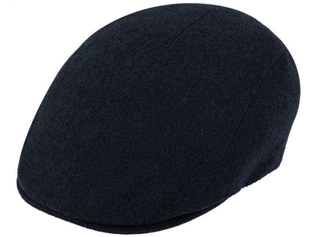 Luxusní modrá kašmírová bekovka od Fiebig - Driver cap Cashmere
