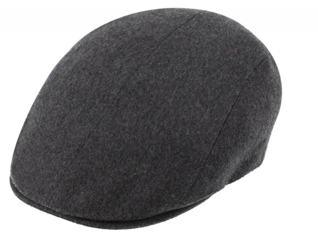 Luxusní šedá kašmírová bekovka od Fiebig - Driver cap Cashmere