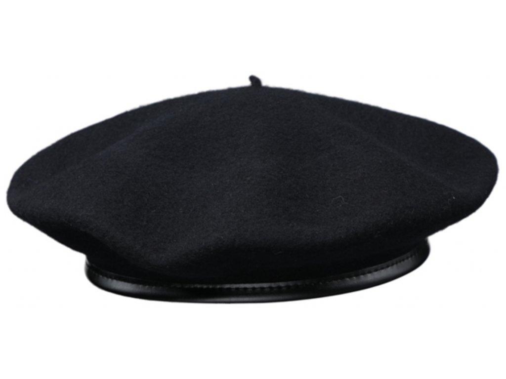 Baret černý pánský - baret s lemováním