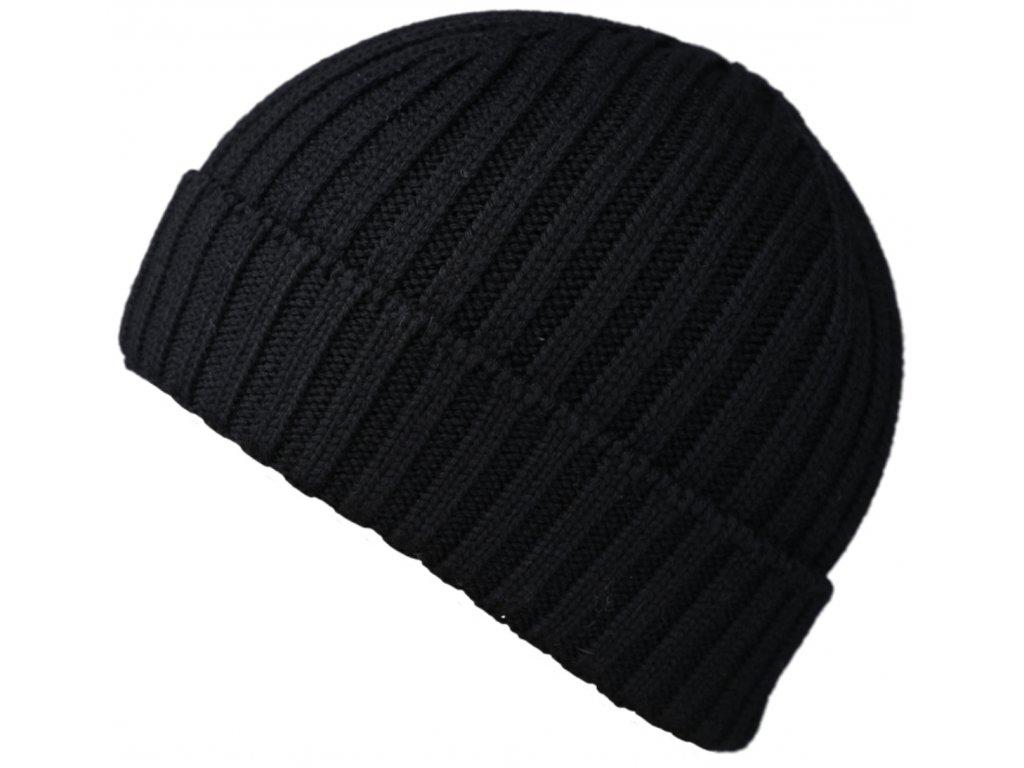 Černá čepice Fiebig - 100 % vlna merino