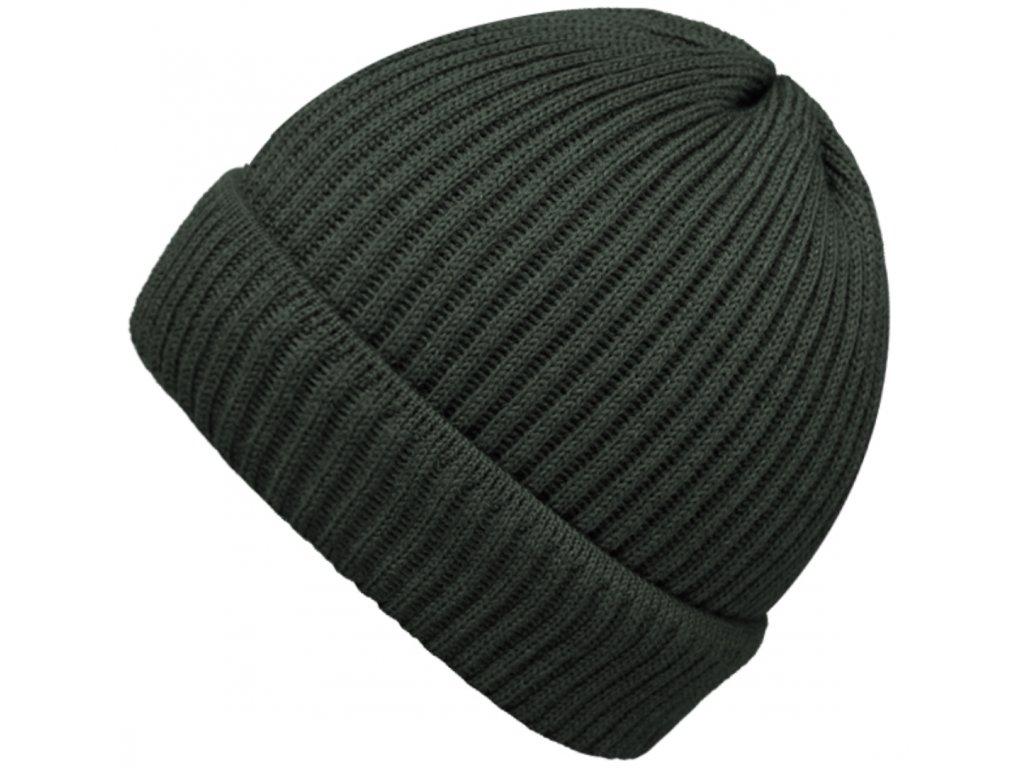 Zelená čepice Fiebig - 100 % vlna merino