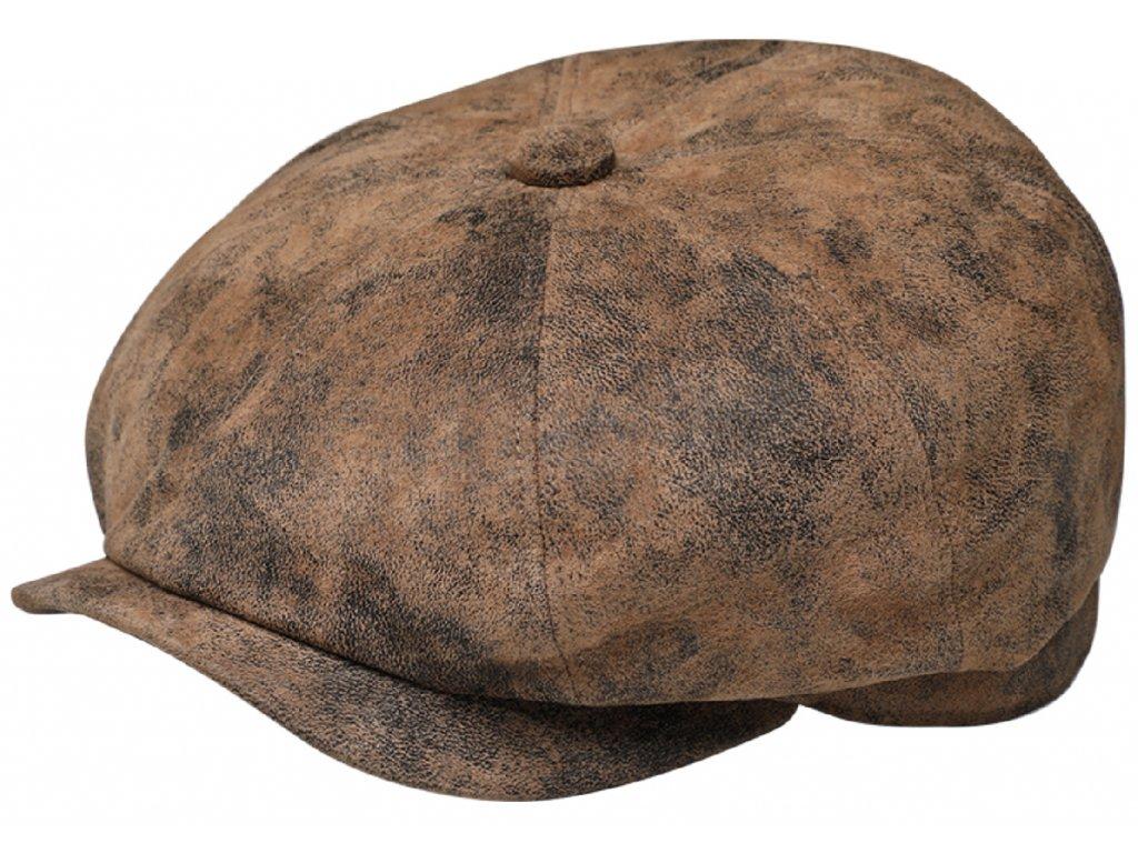 Pánská kožená 8-dílná bekovka s podšívkou - hnědá kožená bekovka