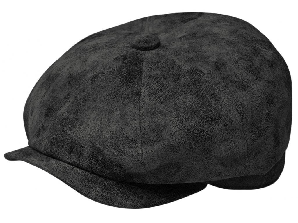 Pánská kožená 8-dílná bekovka s podšívkou - černá kožená bekovka