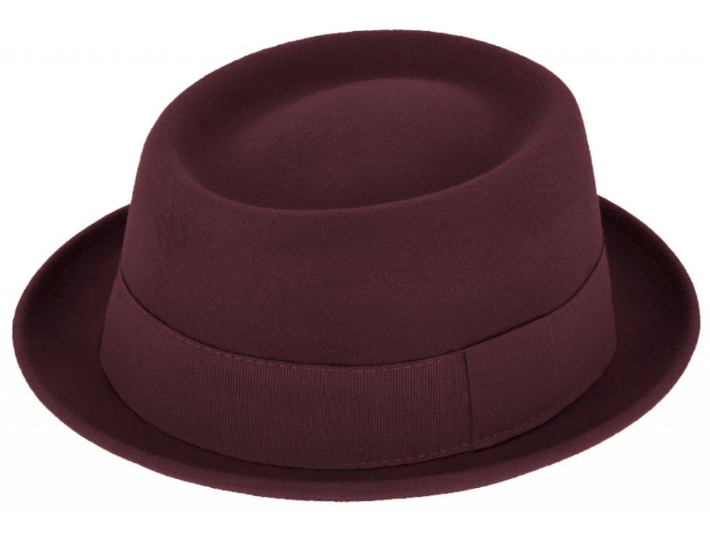Plstěný klobouk porkpie - Fiebig  - bordó klobouk