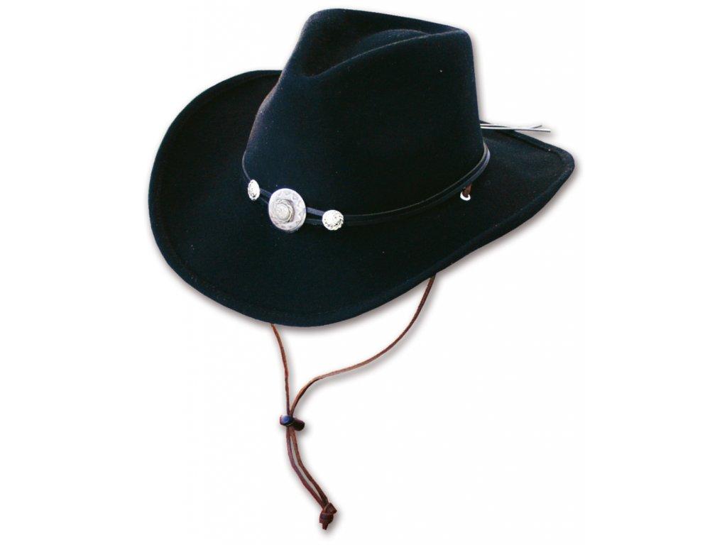Westernový černý klobouk s koženým řemínkem a šňůrkou pod bradu