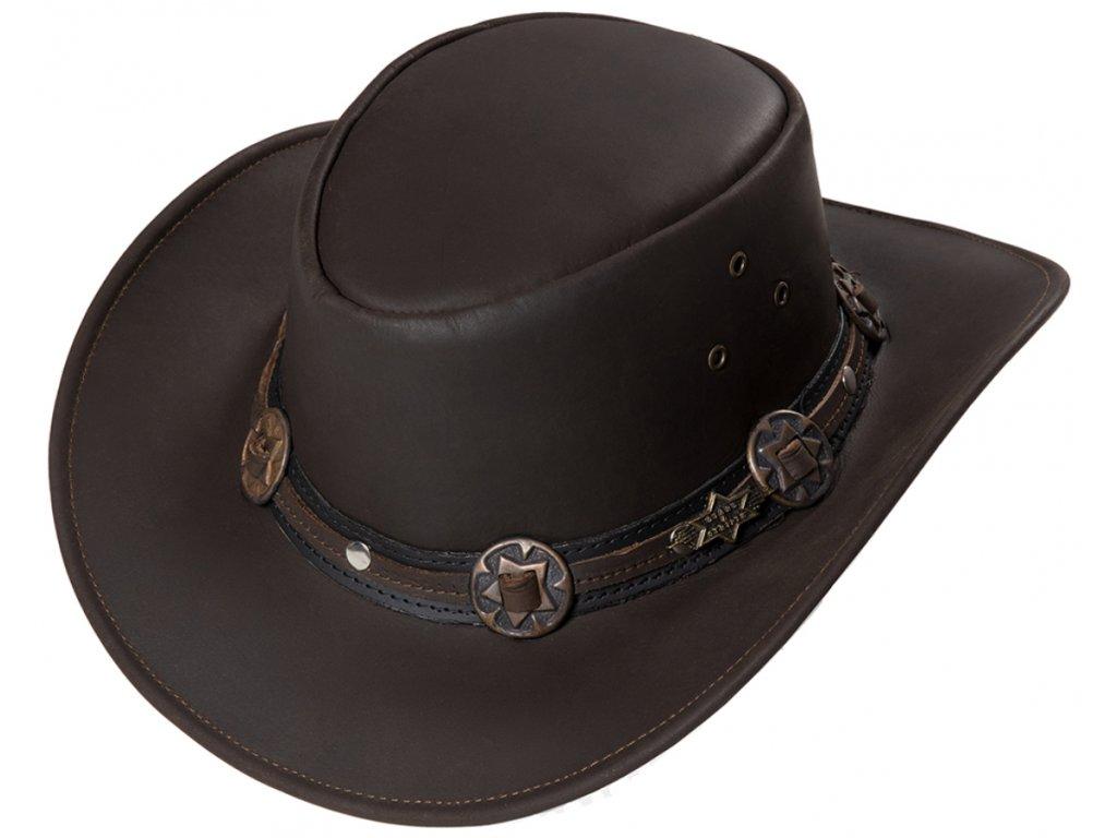 Kožený hnědý western klobouk - Stars and Stripes kožený klobouk