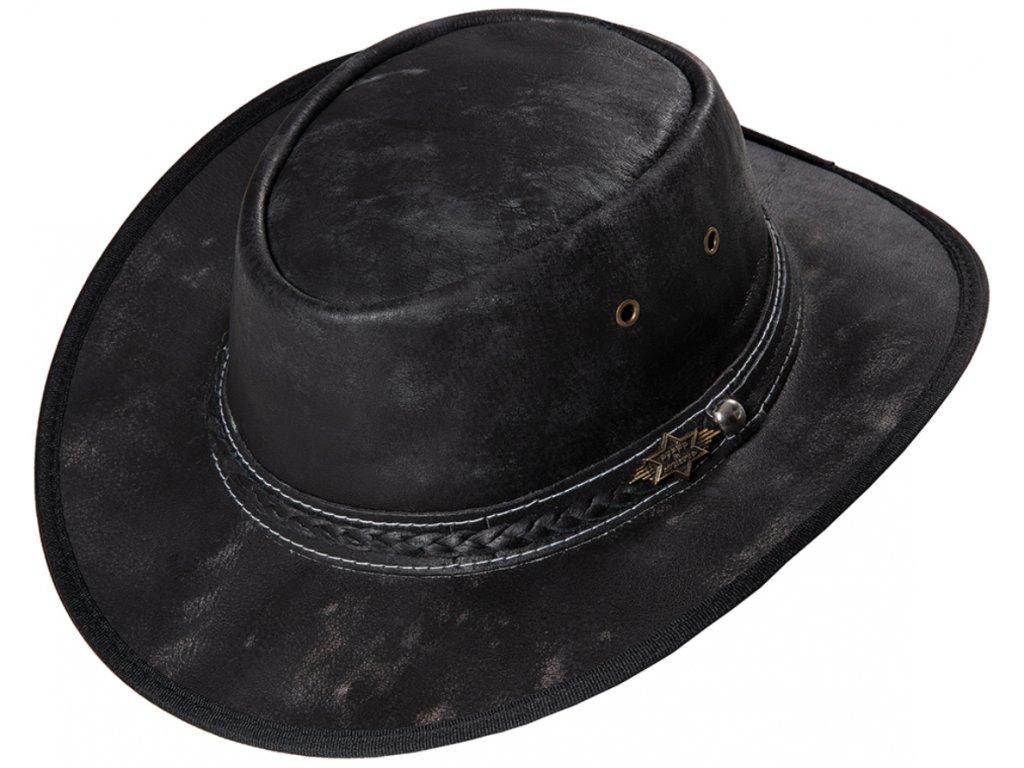 Kožený černý western klobouk - Stars and Stripes kožený klobouk