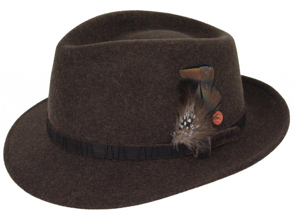 Cestovní nemačkavý voděodolný hnědý klobouk Mayser - Maleo Mayser