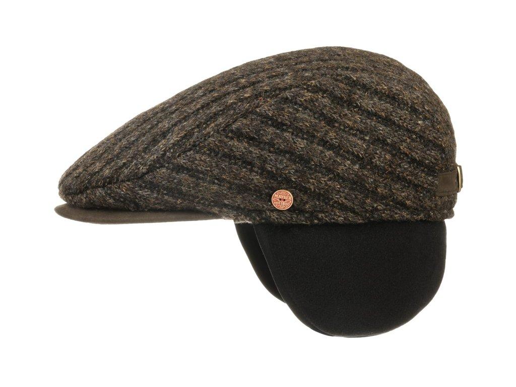 Pánská zimní pletená hnědá vlněná bekovka - Mayser -  Matteo (ušní klapky)