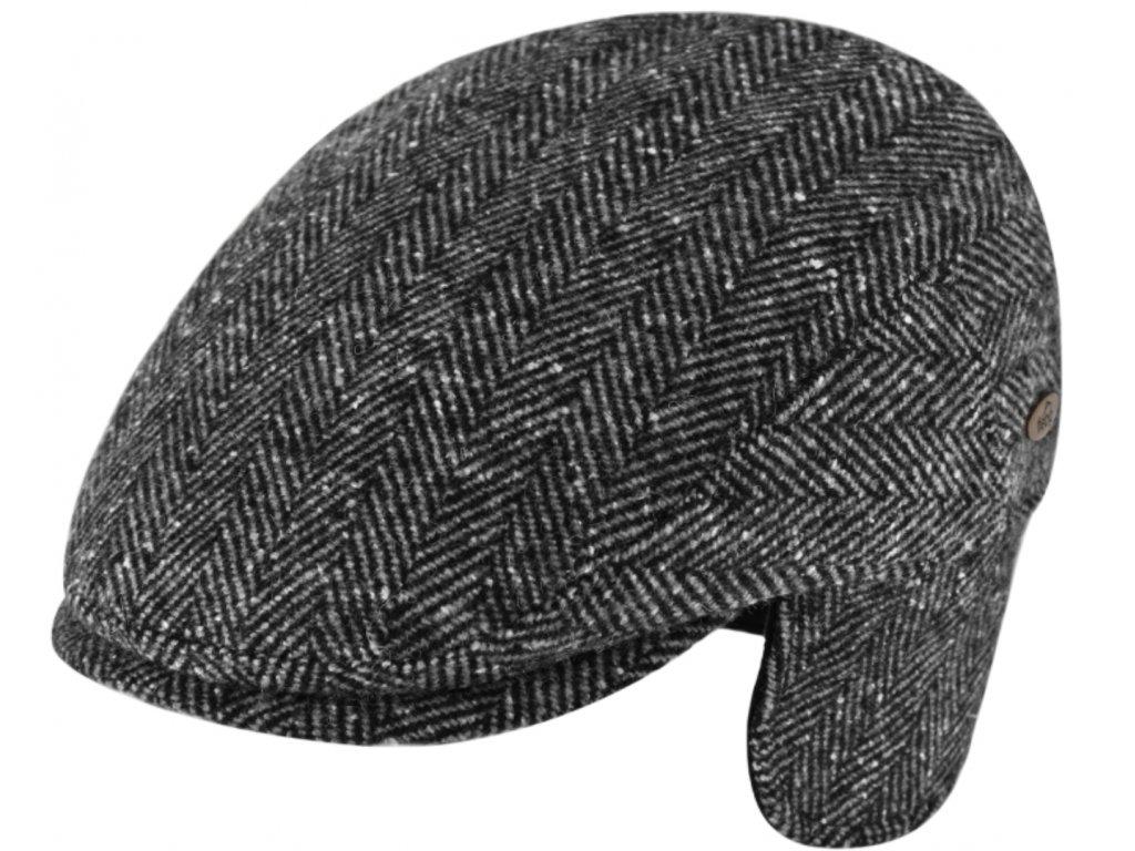 Pánská šedá zimní bekovka Fiebig  s klapkami na uši